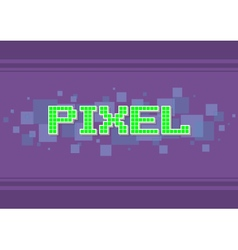 Green pixel text on violet vector