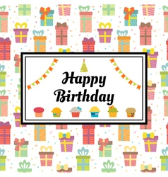 Happy birthday greeting card with gift boxes and vector