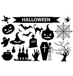 happy halloween icons set black silhouette style vector image vector image