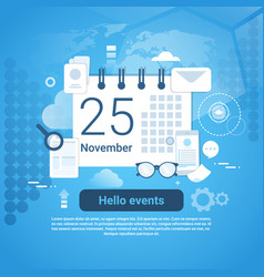 hello events time management template web banner vector image