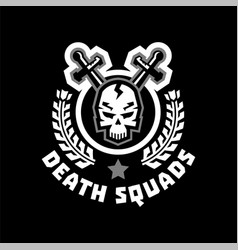 Logo death squad human skull and cross swords vector