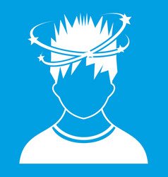 Man with dizziness icon white vector