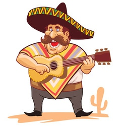 Mexican with sombrero and guitar vector