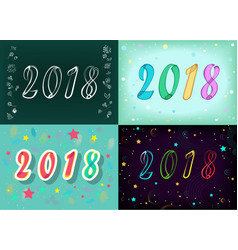 New years specific 2018 cards floral numbers vector