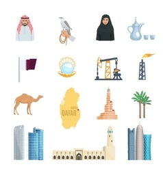 Qatar flat icons set vector