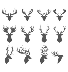 Set of a deer head silhouette on white background vector image