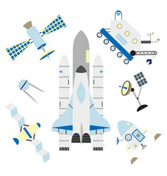 space elements in flat style - shuttle satellites vector image vector image