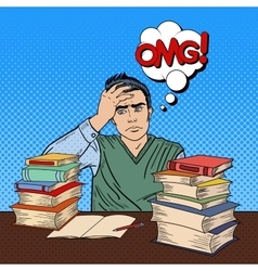 Student with Stack of Books Pop Art vector image vector image