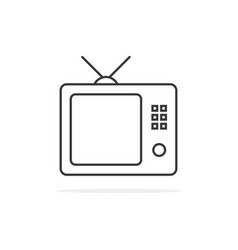 thin line black tv icon vector image vector image