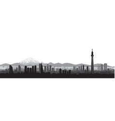 tokyo city skyline view travel japan background vector image
