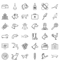 veterinary icons set outline style vector image