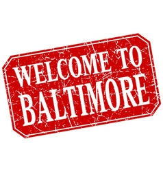 Welcome to baltimore red square grunge stamp vector