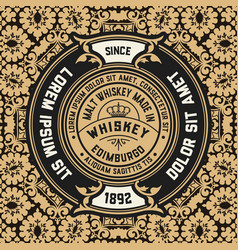 Whiskey label with old wallpaper vector