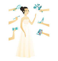 Young asian bride in a white dress vector