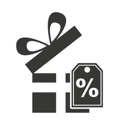 Gift box with commercial isolated icon vector