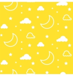 Moon and clouds yellow seamless pattern vector image
