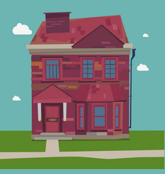 Two story house europe style at home in settings vector