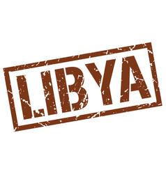 Libya brown square stamp vector