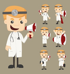 Set of doctor with loud speaker vector image