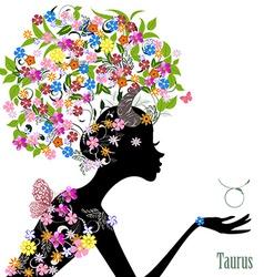 Zodiac sign taurus fashion girl vector