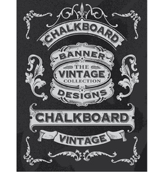 Floral decorative banner and ribbon chalkboard set vector