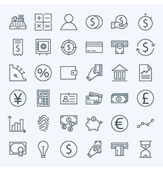 Line finance money and banking icons set vector