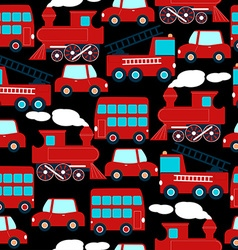 Cute red transport children in a seamless pattern vector