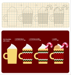 How to make decorated cup of christmas chocolate vector