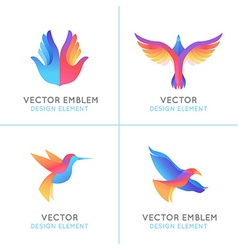 Set of abstract gradient emblems vector