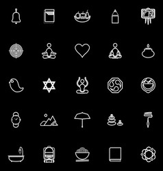 Zen society line icons on black background vector