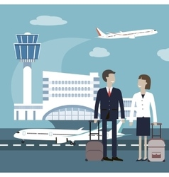 Business people travel airport concept vector