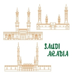 Ancient mosques of saudi arabia thin line icon vector