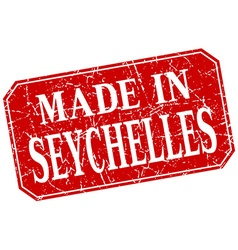 Made in seychelles red square grunge stamp vector