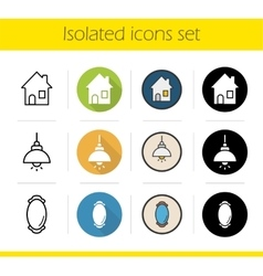 Household items icons vector
