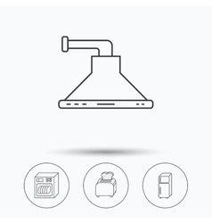 Dishwasher refrigerator and toaster icons vector
