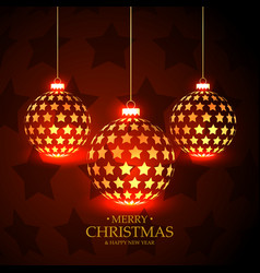 Beautiful red background with hanging christmas vector