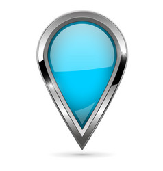 blue location pin with bold chrome frame 3d shiny vector image vector image