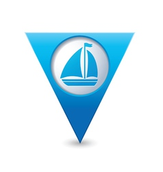 Boat icon on map pointer blue vector