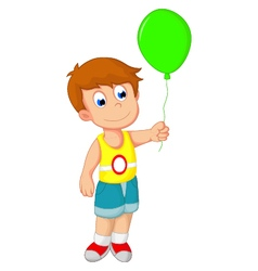 Boy cartoon holding a balloon vector