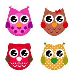 cartoon owls set isolated on white vector image vector image