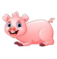 cartoon pig lay down vector image
