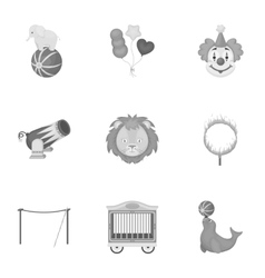 Circus set icons in monochrome style big vector