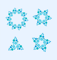 colorful stars flowers made of circle dots vector image vector image