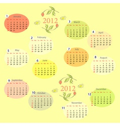decorative calendar for 2012 vector image vector image