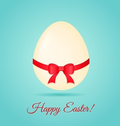 Egg with ribbon Easter greetings card vector image