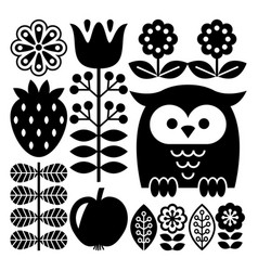 Finnish inspired folk art pattern in black vector