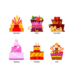 flat cakes collection vector image