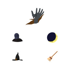 flat icon celebrate set of witch cap zombie tomb vector image vector image