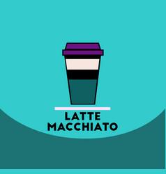 flat icon design collection latte macchiato vector image