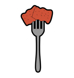Fork with delicious pork bacon vector